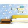 China White Cartoon Kids Bedroom Wallpaper Light Blue Embossed Vinyl Wallpaper wholesale