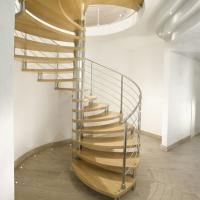 China Modern Design Indoor Stairs Stainless Steel Railing Glass Spiral Staircase wholesale