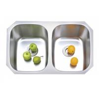 China SUS 304 stainless steel undermount double bowl kitchen sink on sale