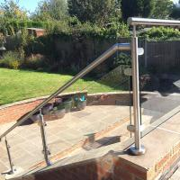 China 2'' Pipe Handrail Balcony / Terrace Stainless Steel Glass Railing Designs wholesale