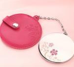 Mini Portable Make Up Mirror / Sterling Silver Compact Mirror For Purse