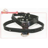 China Durable faux leather black dog harness and lead / adjustable dog harness wholesale