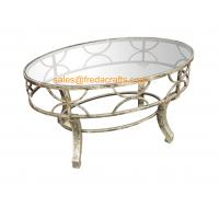 China Top Quality  Metal Decorative Framed Coffee Table With Tempered Glass Top Silver Finish Table wholesale