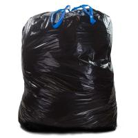 China Tie Off Plastic Drawstring Garbage Bags HDPE Material Black Colour For Construction wholesale