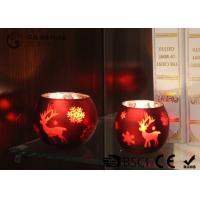China painted ball shape glass candle holder with laser picture with LED tealight wholesale