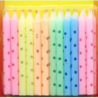 China Macaron Color Litte Colorful Dot Printed Birthday Candles wholesale