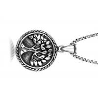 Vintage Stainless Steel Pendant Necklace , Peaceful Tree Pattern Round Pendant Necklace