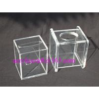 China Transparent Cube Contracted Tissue Paper Storage Box Acrylic Tissue Holder wholesale