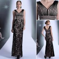 China Sell Black flower fashion stripe lady's embroidered long annual meeting show evening dress wholesale