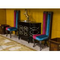 China Artistic Modern Lobby Fabric Accent Chair And Wooden Consoles Velvet Club Chair wholesale