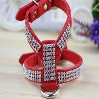 China High Grade Crystal Rhinestone Decorated PU Leather Dog Pet Harnesses for Small and Medium wholesale