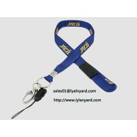 China Silk Screen Yellow Print Removable Safety Clasp Blue Neck Lanyard with Metal Split Ring wholesale