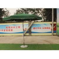 China Green Large Square Umbrella With 50 Kg Marble Base , Square Steel Tube Frame wholesale