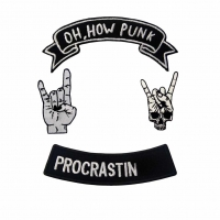 China Custom Fabric Punk Rock Iron On  Embroidered Patches For Jacket Bags wholesale