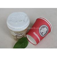 China Custom Printed Disposable Paper Cups With PS Lids For Hot / Cold Drinking wholesale