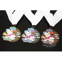 China Soft Enamel Sports Medals And Ribbons With Black Nicekl Plating , Sublimated Ribbon wholesale