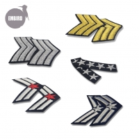 China Custom Military Uniform Stripes Army Embroidered Arms Emblem Iron On Sew On Shoulder Patch wholesale
