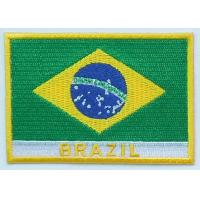 Quality  Custom 100% twill Brazil national embroidered flag patches, hot cut border,iron on backing for sale