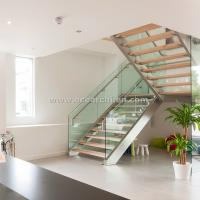 China 304 s.s Double Steel Stringer Straight Glass Railing Staircase with Wooden Tread wholesale