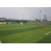 China Healthy Flat Artificial Football Turf Lively Olive Color Solid Backing 50mm Height wholesale