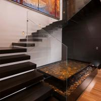 China Frameless Glass Railing Floating Straight Exterior Stair Design wholesale