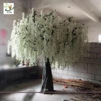 China UVG 10ft White indoor artificial wisteria tree with silk blossoms for wedding decoration wholesale