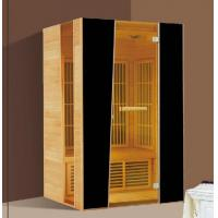 China 2 Person Hemlock Far Infrared Sauna Cabin with Brown Tempered Glass Door on sale