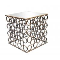 China Squre end table with small iron circle decorations for Dinning room metal framed gold finish wholesale