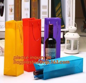 China Ribbon Handle eco friendly Plastic PP Package Bag for Flowers Bouquet,Semitransparent PVC Plastic Tote Bag Environmental wholesale