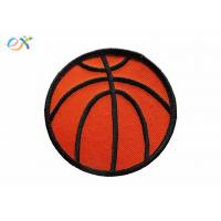 China Twill Background Fabric Embroidered Sports Patches  Orange / Red Color wholesale