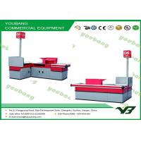 Quality Durable  Supermarket Checkout Counter / Metal Cash Table With Different Colors for sale