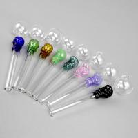China 14cm Length Colorful Hookahs Straight Oil Burner Pips , Tobacco Pipe Glass Material wholesale