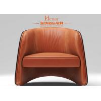 China Hotel Lobby Leather Armchair Antique Living Room Single Seater Wood Sofa Chairs wholesale