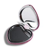 China Pink Heart Shaped Double Sided Travel Mirror , Glitter Plastic Compact Mirror wholesale