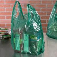 China 0.51 Mil Green T Shirt Bags Custom Printed For Shopping ISO9000 Certification wholesale