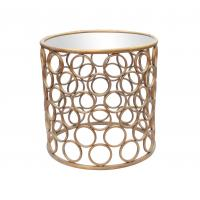 China Metal frame round iron end table with iron circle decoration in gold wholesale