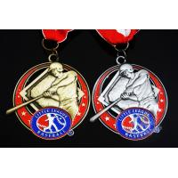 China Baseball 3D Effect Metal Sports Award Medals Antique Gold / Silver Plating wholesale