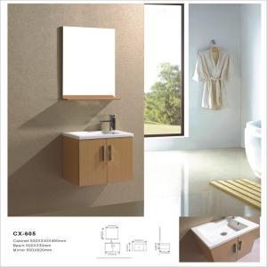 China Simple Wall Mounted Bathroom Vanity Cabinets , PVC Bathroom Vanity with Mirror on sale