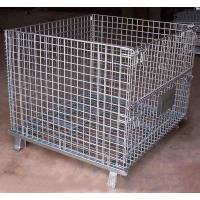 Buy cheap foldable lockable wire mesh transport metal storage wire mesh pallet cage from wholesalers