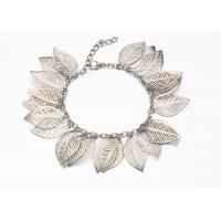 Silver Hollow Leaf Costume Jewelry Charm Bracelets With Clasp Extender
