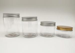 China 68mm 100ml 150ml Transparent Plastic PET Jar With Gold Aluminum Cap wholesale