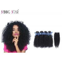 China 100 Virgin Curly Unprocessed Hair Bundles With Lace Closure In Natural Black wholesale