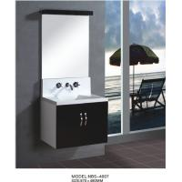 China Floating wall cabinet acrylic - resin integrated sink basin , black bathroom wall cabinet NON Drawers wholesale