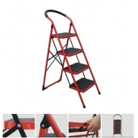 China CE Red 130cm 4 Rungs Steel Step Ladder wholesale
