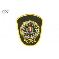 China Embroidered Iron On Fabric Patches , Police Armband Embroidered Patches wholesale