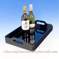 China Black acrylic cookies display tray acrylic drink serving trays for hotel and party wholesale
