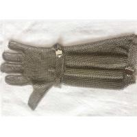 China SS Chain Mail Ring Mesh Cut Resistant Safety Gloves With Extended Length wholesale