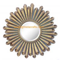 China Gold Leaf Finish Metal Roll Decorated Living Room Wall Mirror For Home Decoration wholesale