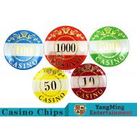 China Casino Style Numbered Poker Chip SetBright Color With Customized Print Logo for sale