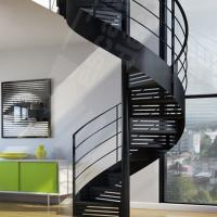 China Indoor / Outdoor Powder Coated Black Metal Spiral Staircase Price / prefab Stairs wholesale